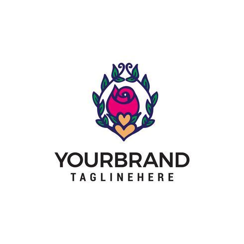 bloem en hart logo ontwerp concept sjabloon vector
