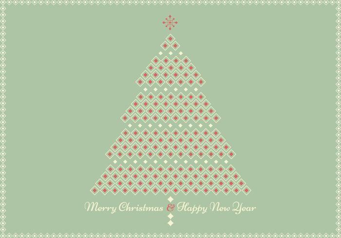 Retro Geometrische Kerstboom Wenskaart Vector