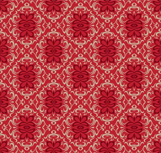 Het ontwerpmalplaatje van de luxe rood naadloos decoratief patroon. vector