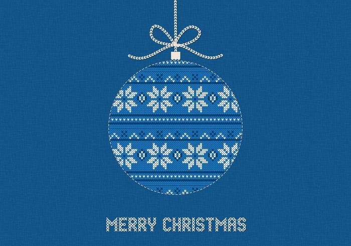 Blauwe gebreide merry christmas vector achtergrond