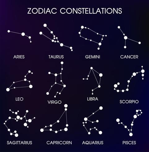 De 12 Zodiacal sterrenbeelden. vector