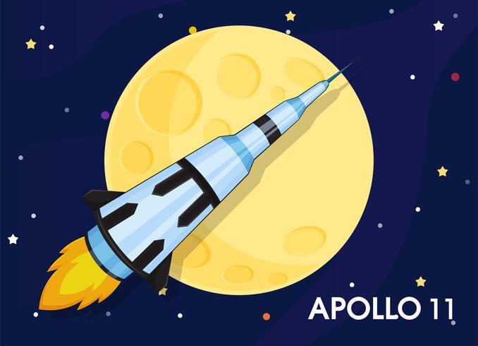 Apollo 11 Het ruimtevaartuig werd gestuurd om 's werelds eerste manen te verkennen. vector