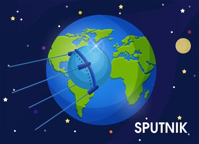 Spoetnik Het is de eerste satelliet in een baan om de aarde. De eerste satelliet om een hond de ruimte in te nemen. vector