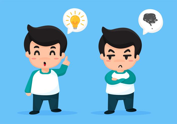 De creatieve man met de gele bol op het hoofd en de man die jaloers op hem is. vector