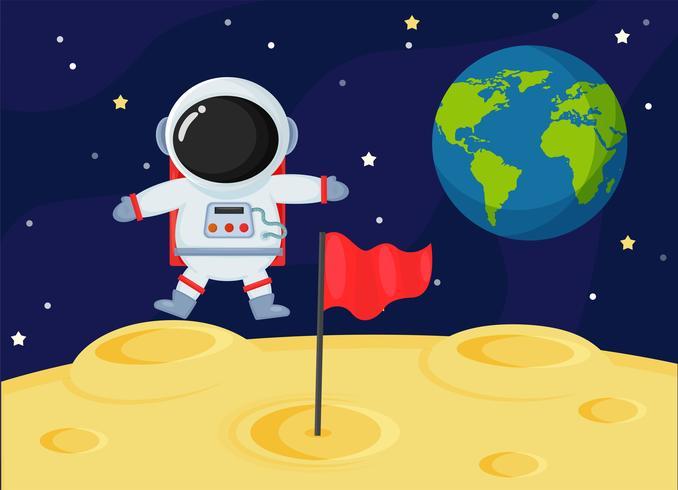 Leuke cartoon ruimte-astronauten verkennen het oppervlak van de maan van de aarde. vector