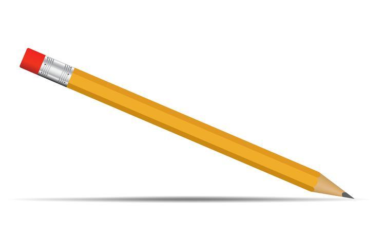 Geel potlood met rode realistische gumtip Op een witte achtergrond ziet er simpel uit vector