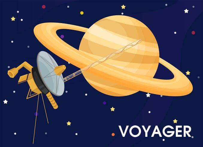 Voyager. Het ruimtevaartuig werd gestuurd om de ringen van Saturnus te verkennen. vector