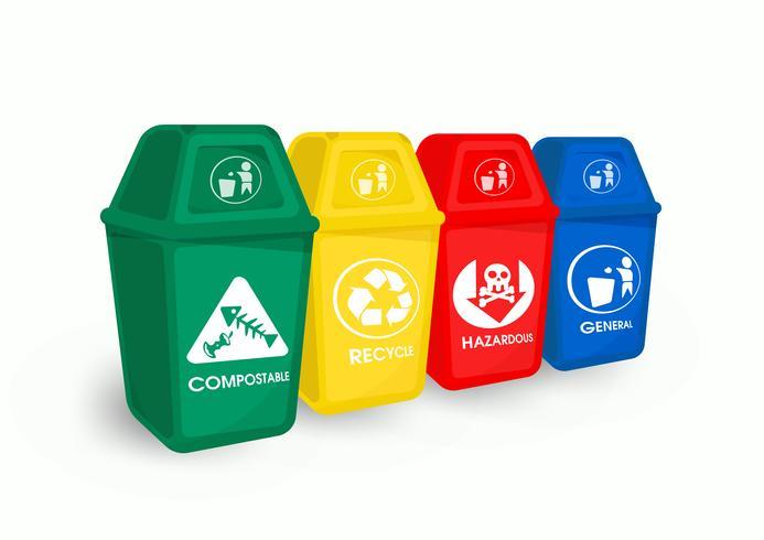 Kleurafval en afvalscheiding Is een recycle en milieuvriendelijk afval. vector