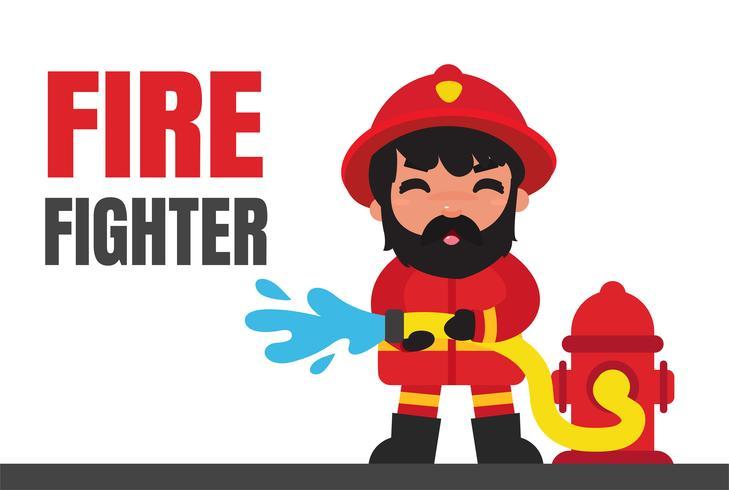 Cartoon brandweerlieden die branden met hoge druk blussen vector