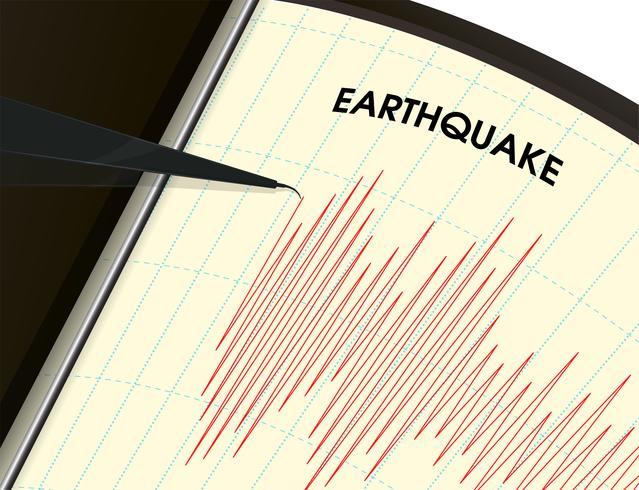 Aardbevingsbewakingstool De trillingsmeting wordt weergegeven als een rode lijngrafiek. vector