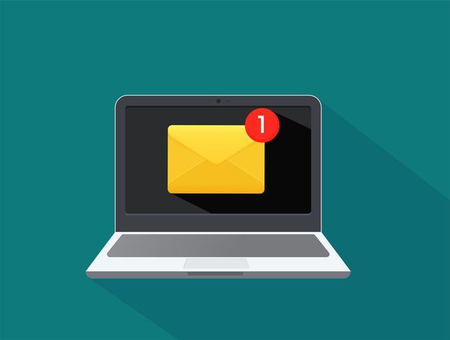 Verzend en ontvang e-mailmeldingen op computers Risico van virusinfectie. vector