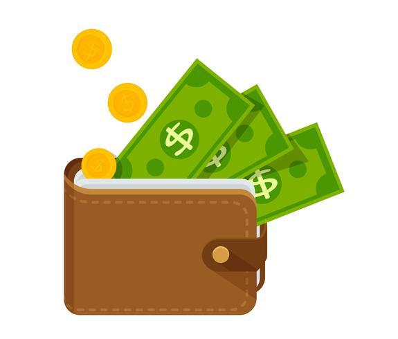 Bruine lederen portemonnee met veel geld. Vector illustratie.