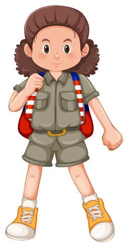 Een karakter van een campingmeisje vector