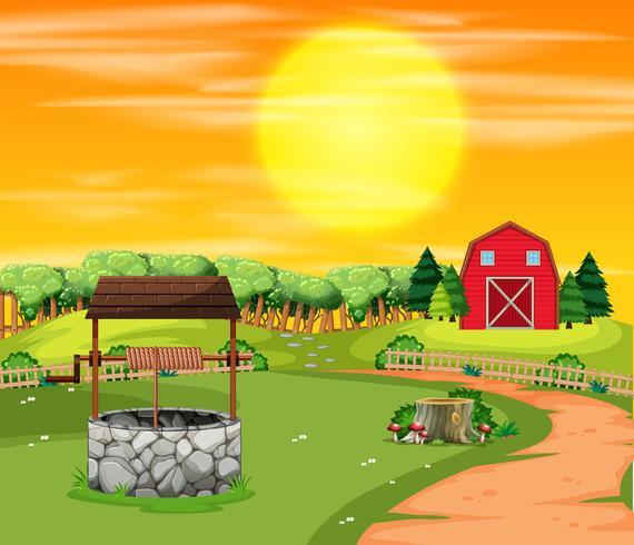 Een landschap van de zonsonderganglandbouwgrond vector