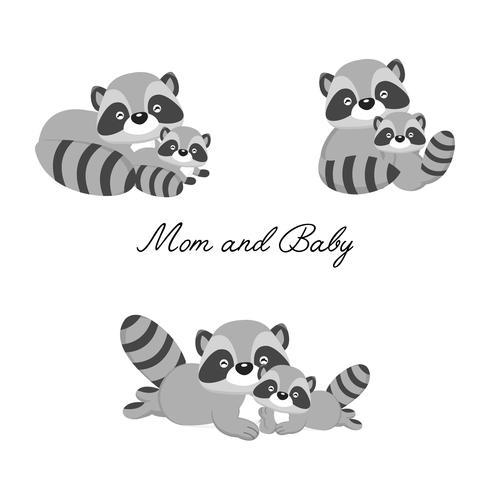 Set van kleine wasbeer en moeder. Woodland animal cartoon. vector