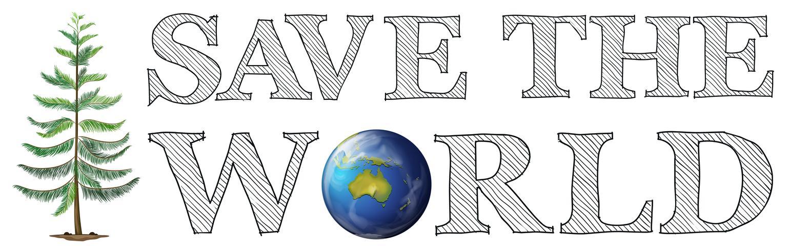 Red het wereldpictogram vector