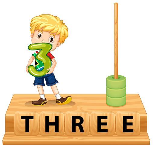 Wiskundige telraam nummer drie vector