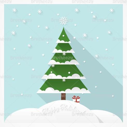 Sneeuwbedekte Kerstboom Vector Achtergrond