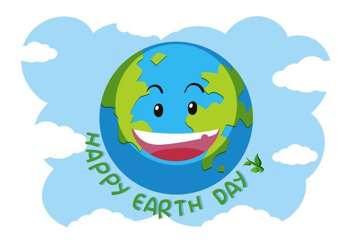 Een gelukkig earth-logo vector