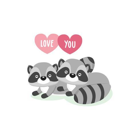 Happy Valentine's Day wenskaart met schattige paar wasberen in liefde. vector