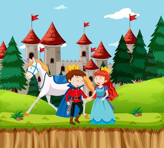 Prinses en prins in het kasteel vector