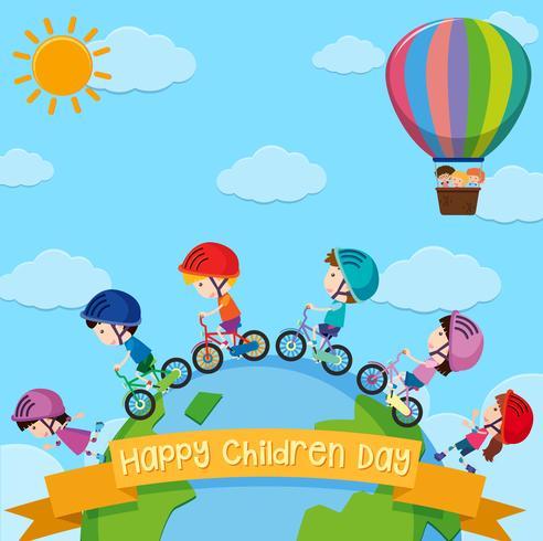 Posterontwerp voor kinderendag met kinderen over de hele wereld vector