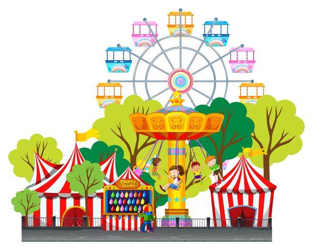 Kinderen rijden op schommel in het funpark vector
