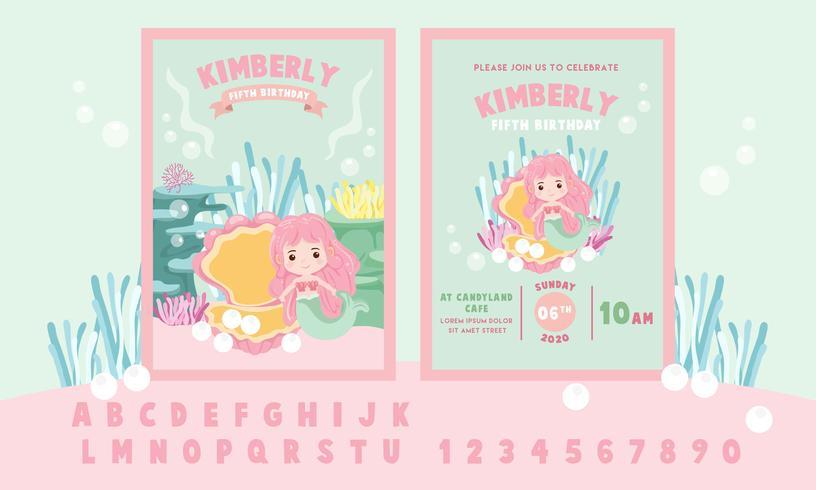 Schattige kleine roze zeemeermin thema verjaardagsfeestje uitnodiging kaartsjabloon - vectorillustratie vector