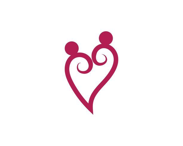 Liefdeshart logo en sjabloon vector