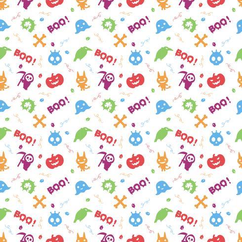 leuke kleurrijke hallowen patroonachtergrond vector