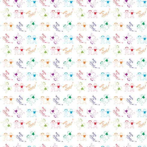 Terug naar school Kinderen hand getrokken patroon achtergrond vector