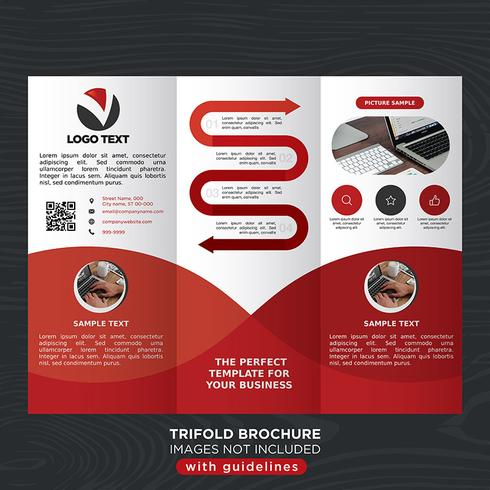 Red Trifold Business Fold-brochure vector