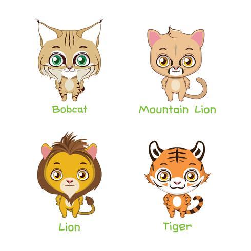 Reeks grote wilde kattensoorten vector