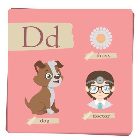 Kleurrijk alfabet voor kinderen - Brief D vector