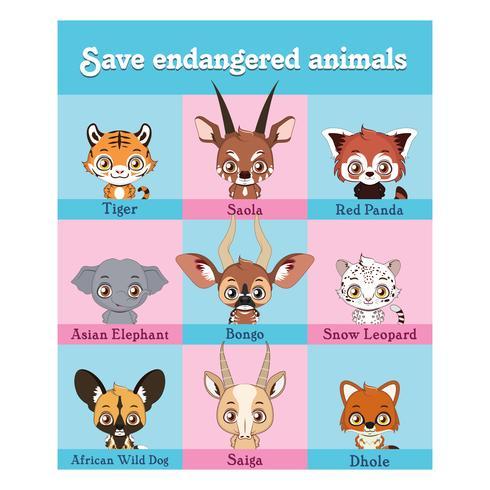Verzameling van bedreigde dierenportretten vector