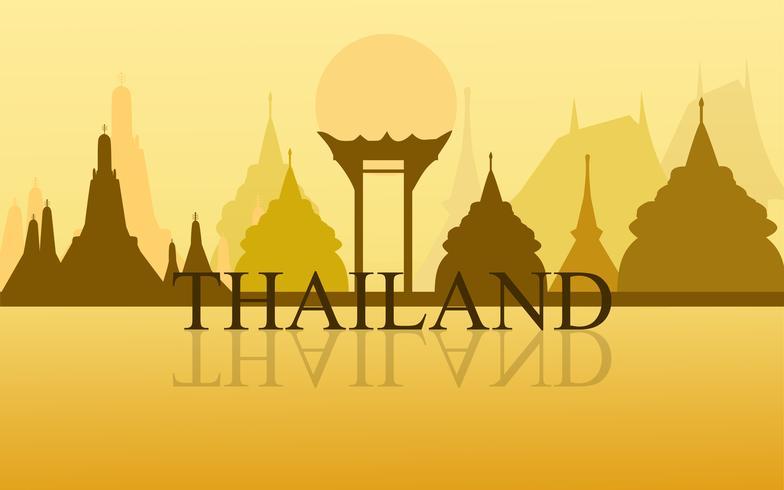 Verbazingwekkende toerisme van Thailand wat arun het ontwerpvector van de tempel gouden kleur. Thaise kunst grafische teken illustratie. vector