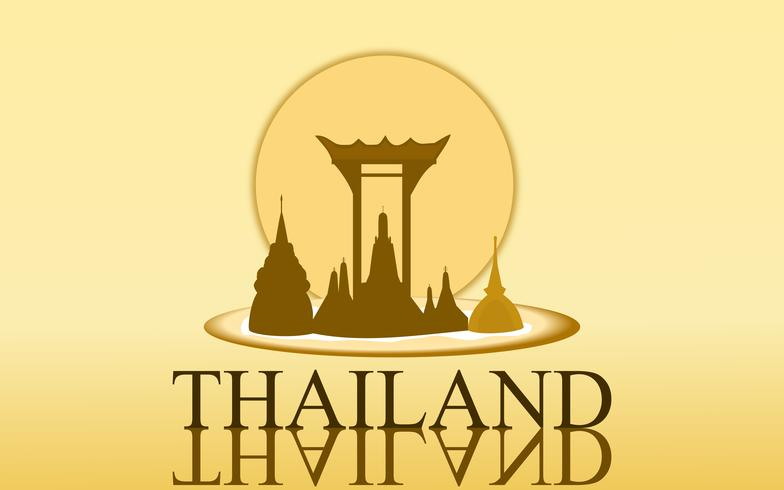 Verbazingwekkend toerisme van Thailand wat arun gouden de kleurenontwerp van de tempel voor bannervector. Thaise kunst grafische teken illustratie. vector