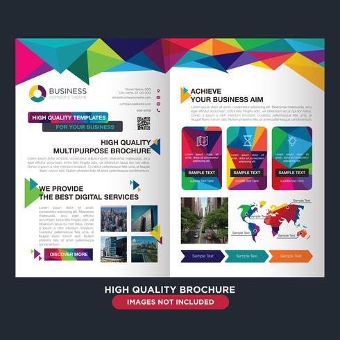 Kleurrijke Low Poly Business Fold Brochure vector