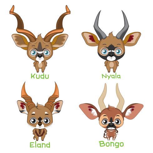 Spiraal gehoornde antilopen soorten vector