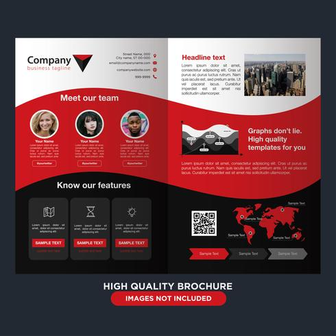 Roodzwart bedrijfsvouwbrochure vector