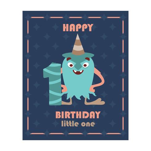 Verjaardagsgroet met monster vector