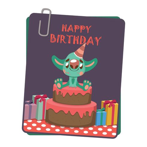 Verjaardag wenskaart met schattige monster vector