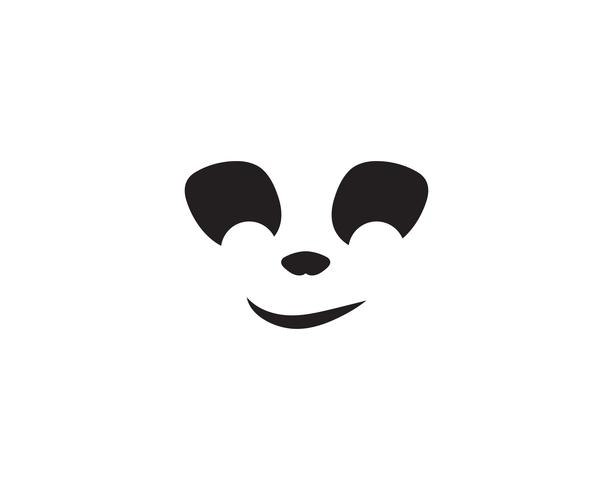 panda-logo zwart en wit hoofd vector