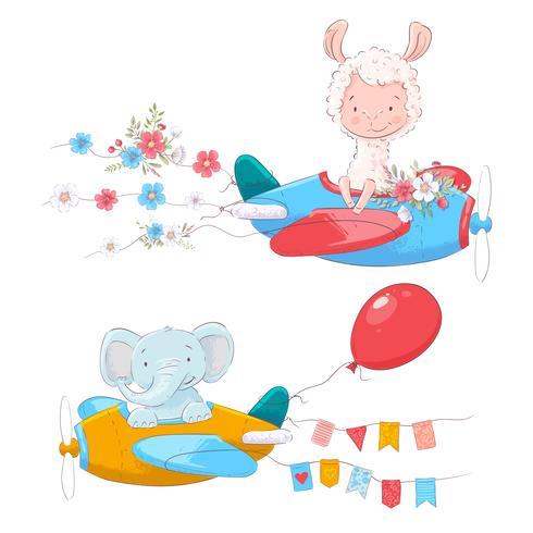 Set van cute cartoon dieren Lama en een olifant op een vliegtuig met bloemen en vlaggen voor kinderen illustratie. vector