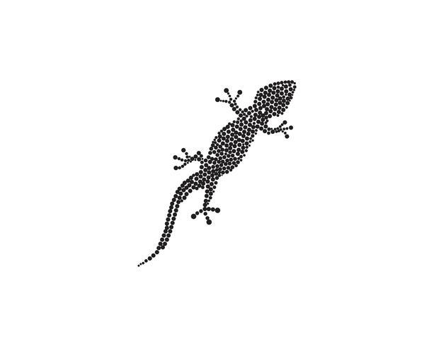 Hagedis Chameleon Gecko Silhouette zwart vector