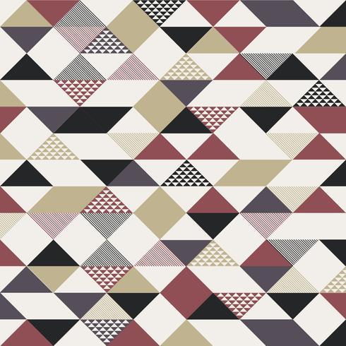 Het abstracte retro patroon van stijldriehoeken met lijnen diagonaal gouden, zwarte, rode kleur op witte achtergrond. vector