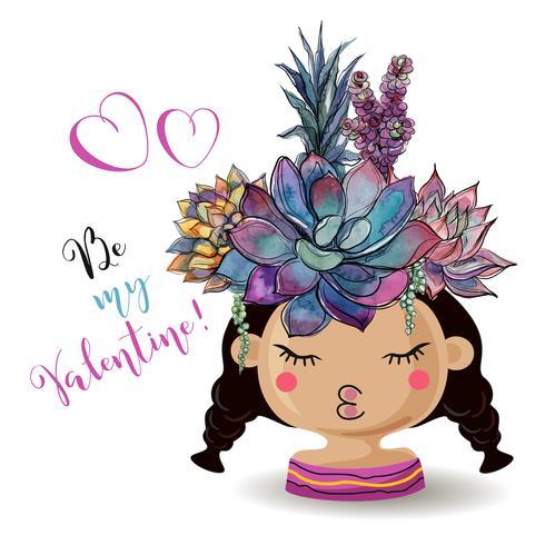 Fijne Valentijnsdag. Meisje met bloemen vetplanten. Waterverf. Vector. vector