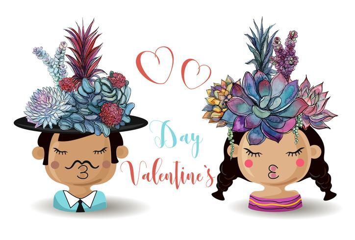 Fijne Valentijnsdag. Jongen en meisje met bloemen vetplanten. Waterverf vector