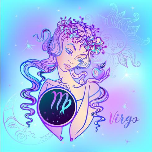 Sterrenbeeld Maagd, een mooi meisje. Horoscoop. Astrologie. vector