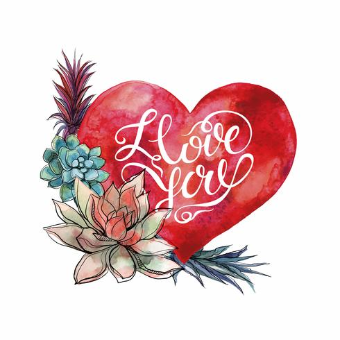 Valentijnsdag. Aquarel hart en vetplanten. Belettering. vector